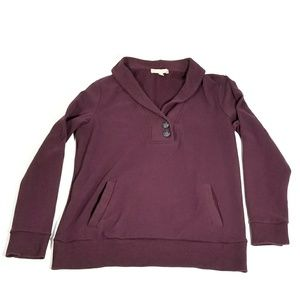 Banana Republic Maroon Collared Sweatshirt - Med